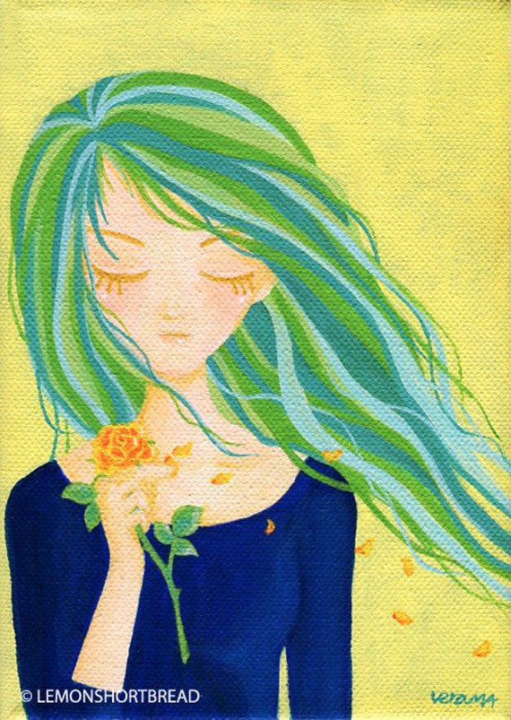 "Original Painting Pop Girl Canvas Green Blue 5 x 7"" - Petals in the Wind, Melancholy Illustration"