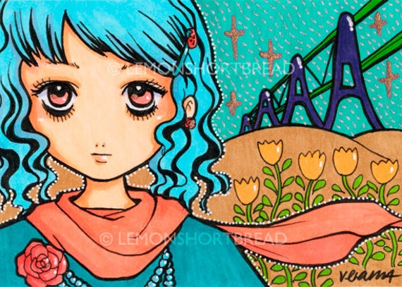 ACEO Art Print Girl With Rose Brooch Illustration, Romance Popart Pop Cute Aqua Peach Orange - Limited Edition 1/25