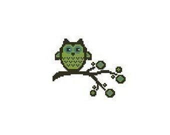 Owl On Branch Cross Stitch Chart Pattern PDF