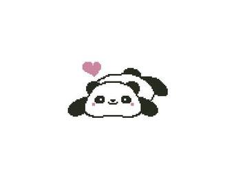 Cute Panda Counted Cross Stitch Chart Pattern PDF