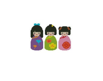 Kokeshi Dolls Cross Stitch Chart Pattern PDF
