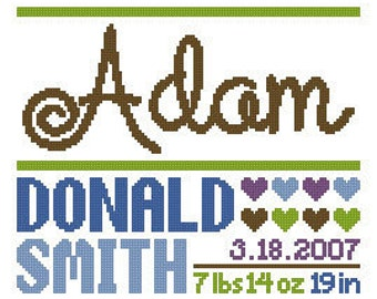 Custom Baby Name Birth Record Cross Stitch Chart Pattern PDF