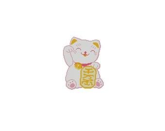 Cute Japanese Maneki Neko Lucky Cat Cross Stitch Chart Pattern PDF