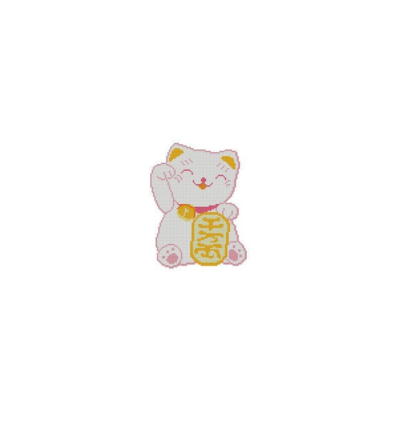 Cute Japanese Maneki Neko Lucky Cat Cross Stitch Chart Pattern PDF