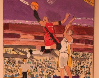 Dwayne Wade of the Miami Heat in Motion 16 x 20 Original Handdone