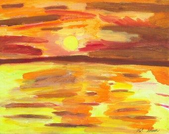 Original Handdone Painting of Sunset 11 x 14 inches with frame