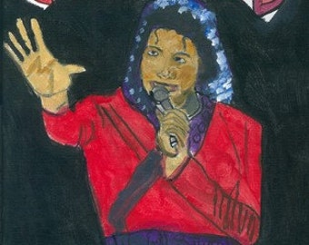 Orignal Acrylic on Canvas portrait of Michael Jackson 9 x 12 Inches Framed in Red Frame