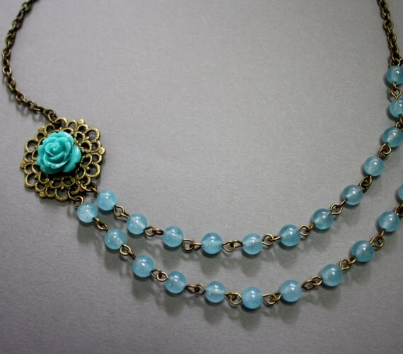 Romantic Victorian-style blue flower double layer necklace with blue jade, free earrings