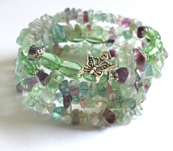 Fluorite memory wire bracelet, beaded wrapped bracelet with fluorite and a butterfly charm
