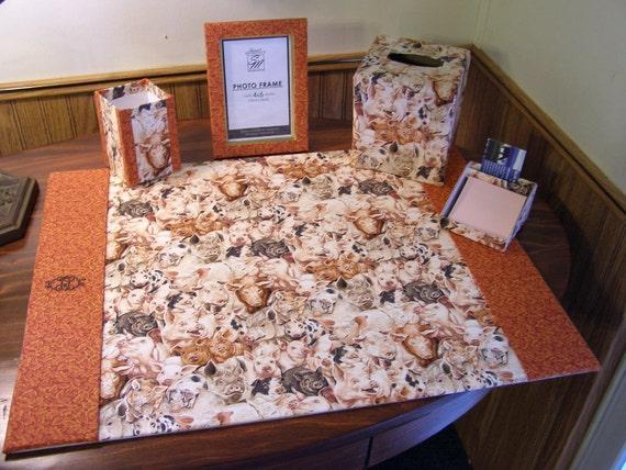 custom made monogrammed desk blotter pad