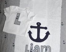 Baby Shower Shirt and Burp Cloth Boy Monogram Seersucker Anchor Nautical Theme Maddie Kate