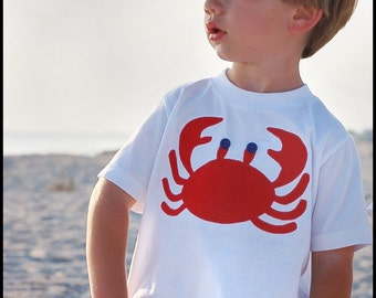 Boys Crab T shirt Boutique Custom Maddie Kate now in RED OR GREEN