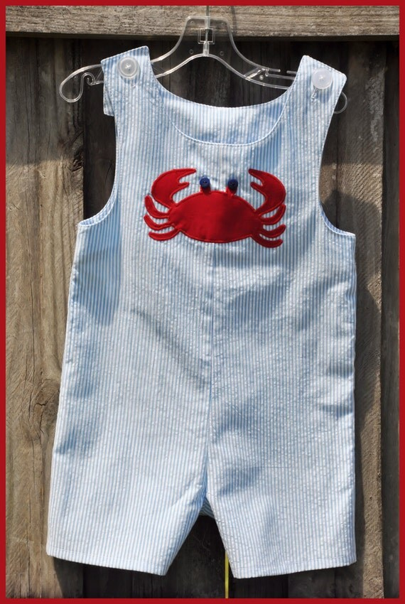 Boys Crab Seersucker Jon Jon Shortall Beach Summer Vacation Holiday Boutique Custom Maddie Kate