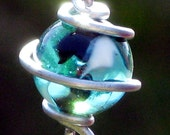 Set of 2 Silver Steel and Teal with Black and White Swirls Glass Marble Garland Suncatchers