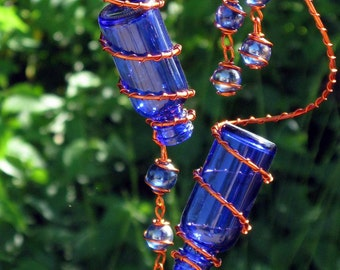 Set of 2 Little Blue Spirit Bottles With Copper Wire Wrapped Iridescent Blue Glass Marble Prisms, Garden Decor