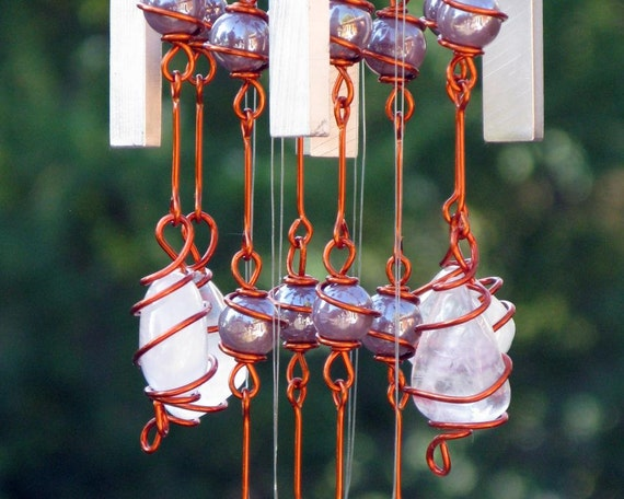 Lavender Fluorite Windchime / Wind Chime with Recycled Aluminum and Copper Wire Wrapped Electric Lilac Glass Marble Prisms