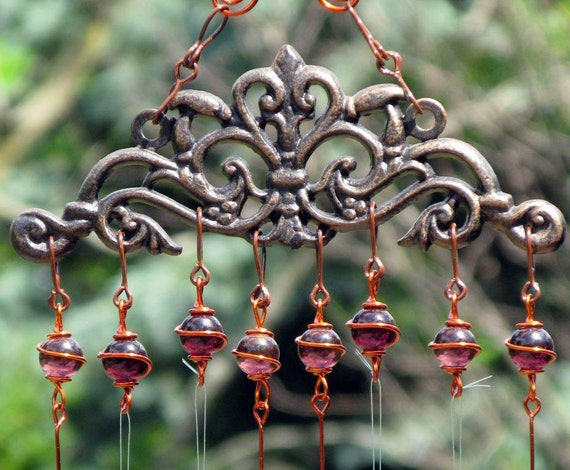Windchime / Wind Chime with Recycled Aluminum and Copper Wrapped Amethyst Glass Marble Prisms, Garden Decor