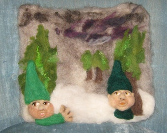 Flat Needlefelted Gnomes in the woods