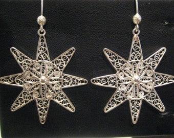 Sun - Silver Filigree Earrings