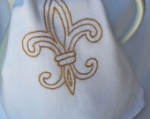French Flair Hand Embroidered Tea Towel