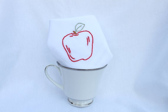 Snow White's Red Apple - Hand Embroidered Handkerchief