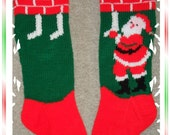 Hand Knit Santa Hanging Stockings Christmas Stocking -SPECIAL ORDER FOR 2016-