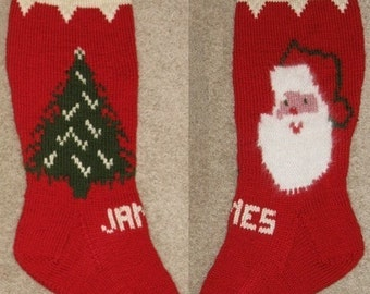 Merry Christmas Santa and Tree Stocking Pattern