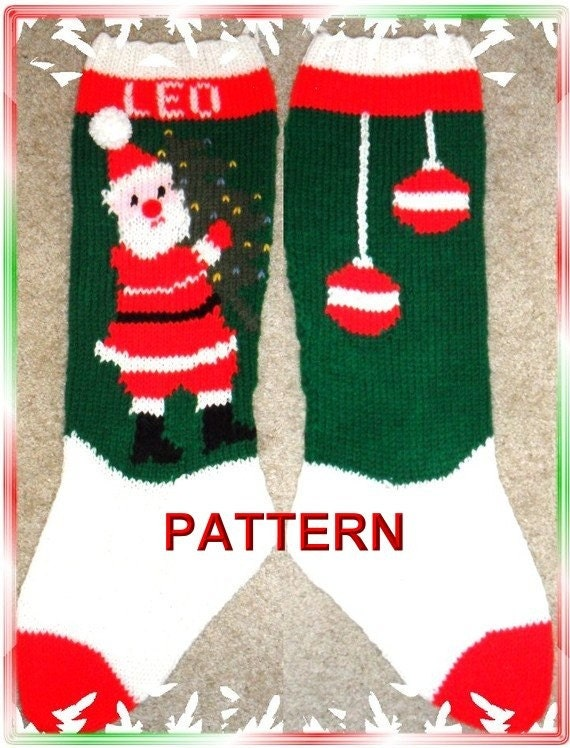 Christmas Stocking Knit Pattern : Santa And Tree Christmas Stocking Knitting by TheLoopyKnitter