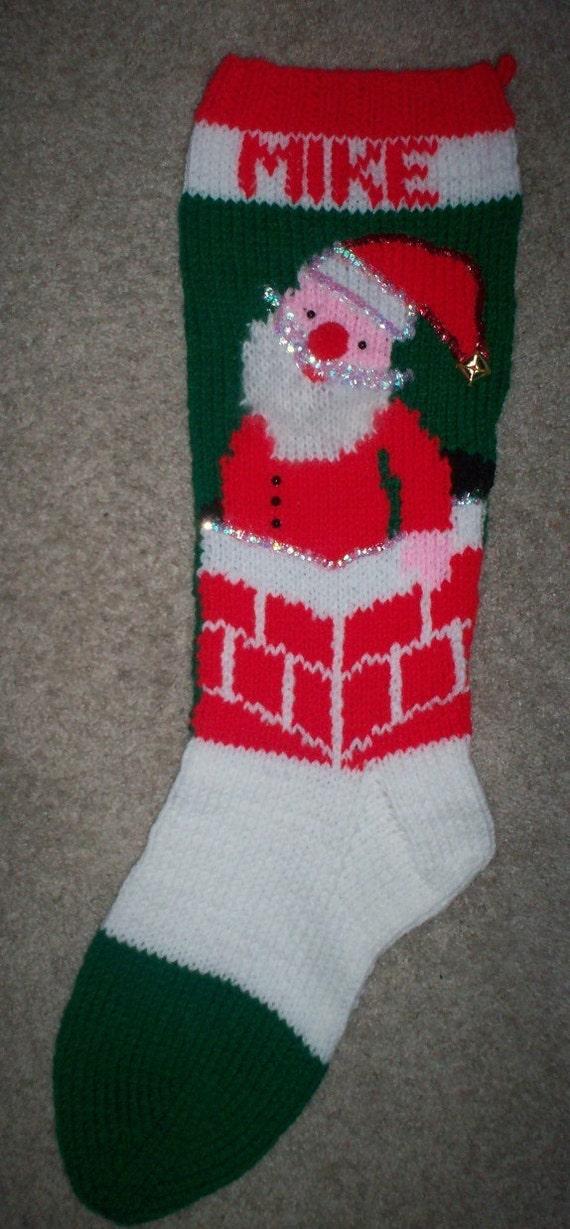 Hand Knit Santa In Chimney Christmas Stocking