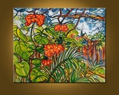 RESERVED FOR VICTORIA - Pagoda Flowers -- 24 x 30 inch Original Oil Painting -- Ready to Hang