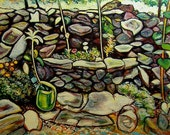Rock Garden in Kingston -- 24 x 36 inch original oil painting by Elizabeth Graf on Etsy, Art Painting