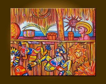 Talavera Tiki -- 24 x 30 inch Original Painting Oil Painting by Elizabeth Graf on Etsy, Art Painting