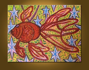 Christmas Fish -- 11 x 14 inch Original Oil Painting -- READY to HANG Art Painting