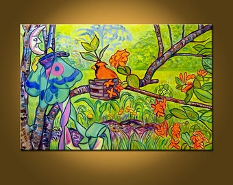 Summer Garden -- 20 x 30 inch Original Painting by Elizabeth Graf on Etsy -- Art Painting, Art & Collectibles