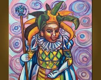 Mardi Gras Lady -- 32 x 32 inch original oil painting by Elizabeth Graf on Etsy, free shipping -- MAKE AN OFFER!