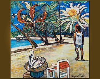 Art Painting Roatan -- West End Village -- 30 x 30 inch Original Oil Painting - scene of Roatan, Honduras