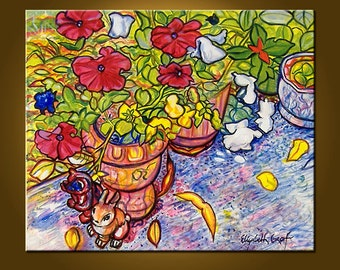 Art Painting -- French Provence Garden -- 20 x 24 inch Original Oil Painting by Elizabeth Graf