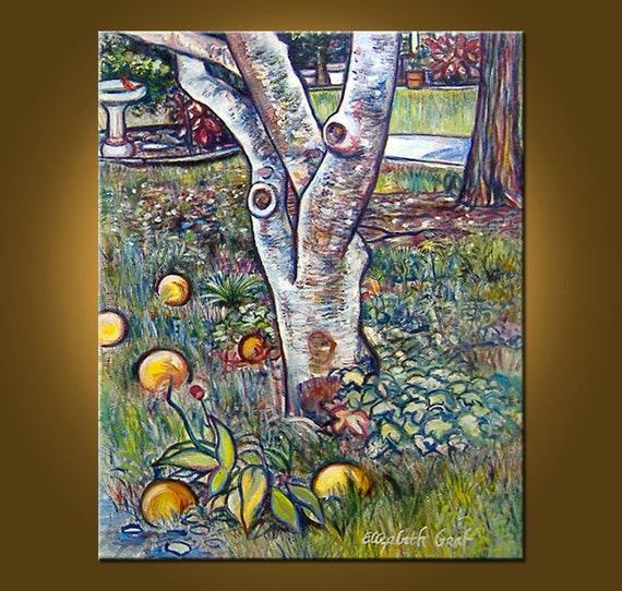 RESERVED FOR ALEX -- Backyard Oranges -- 24 x 30 inch Original Oil Painting