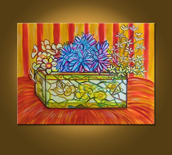 Little Bits of Color -- The Floral Planter -- 18 x 24 inch ORIGINAL OIL PAINTING by Elizabeth Graf on Etsy, Art Painting