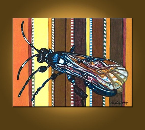 SALE African Wasp -- 18 x 24 original oil painting -- Ready to Hang