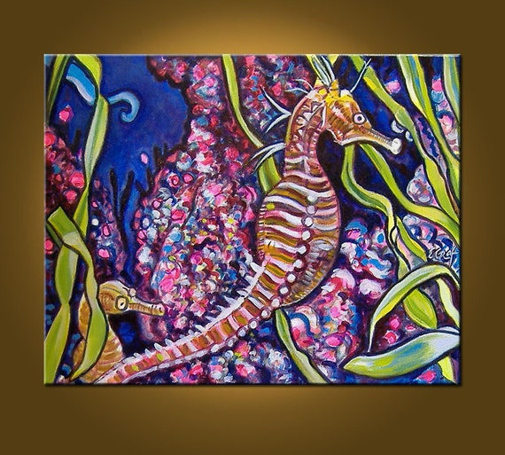 SUPER SALE-----Sweet Seahorses -- 16 x 20 inch Original Oil Painting -- A Perfect Gift
