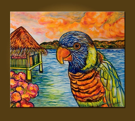 Art Painting Canvas Painting -- Tropical Parrot -- 20 x 24 Original Oil Painting by Elizabeth Graf on Etsy -- READY TO HANG
