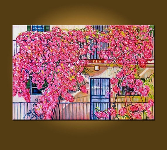 Miami Bougainvillea -- 20 x 30 inch ORIGINAL OIL PAINTING - ready to hang