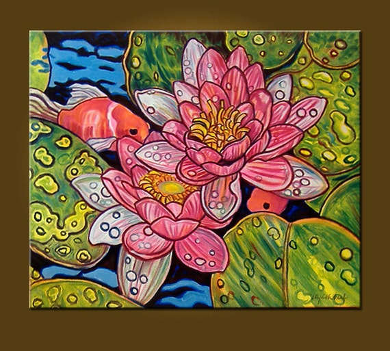 RESERVED FOR SYLVIA -- Raindrops and Lilies (and Goldfish) -- 20 x 24 inch Original Oil Painting -- Ready to Hang