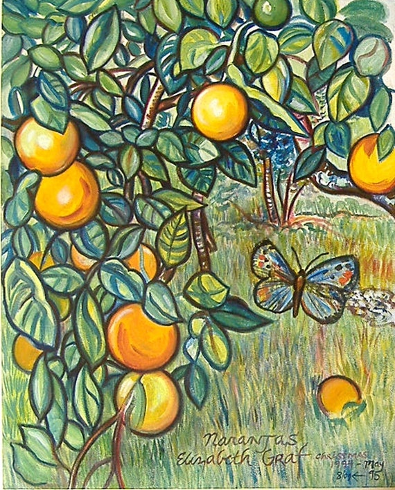 RESERVED for FREDRIKA - Christmas Oranges -- 24 x 30 inch original oil painting by Elizabeth Graf -- Inventory Clearance Sale