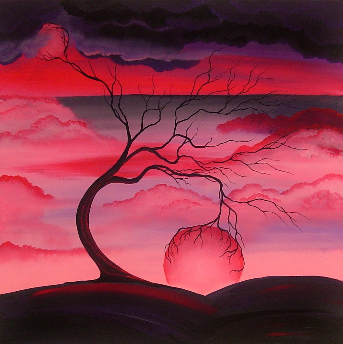Original landscape abstract tree painting angiec surreal