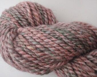 Handspun Yarn- Pink and Green Shetland Wool & Silk Blend- 90 yds