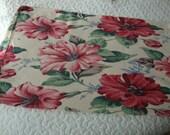 vintage nubby  floral barkcloth bag or pillow case