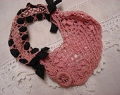 Delicate antique rose colored crocheted bag