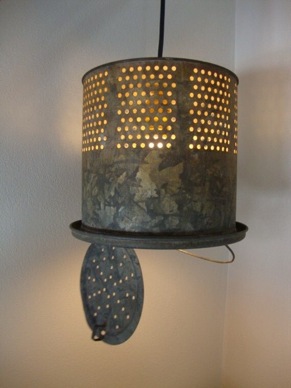 Upcycled industrial look light by lathandplaster on etsy for Homemade fishing light